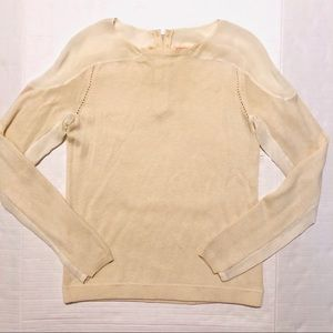 Rebecca Taylor Wool Blend Silk Panel Sweater M